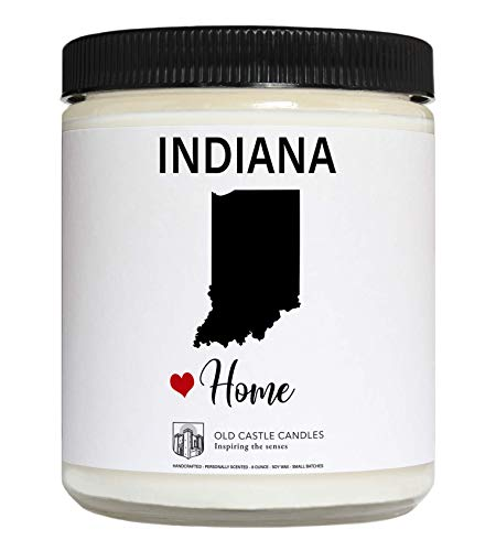 Indiana Candle, Homesick Gift, Personalized College Dorm Decor, 8 ounce