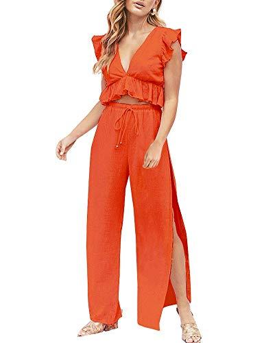 FANCYINN Women's 2 Pieces Crop Tops Outfits Deep V Neck Side Slit Drawstring Wide Leg Pants Set Cute Jumpsuit Orange L