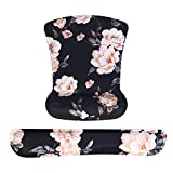 MOSISO Wrist Rest Support for Mouse Pad & Keyboard Set, Camellia Ergonomic Mousepad Non-Slip Rubber Base Home/Office Pain Relief & Easy Typing Cushion with Neoprene Cloth&Raised Memory Foam, Black