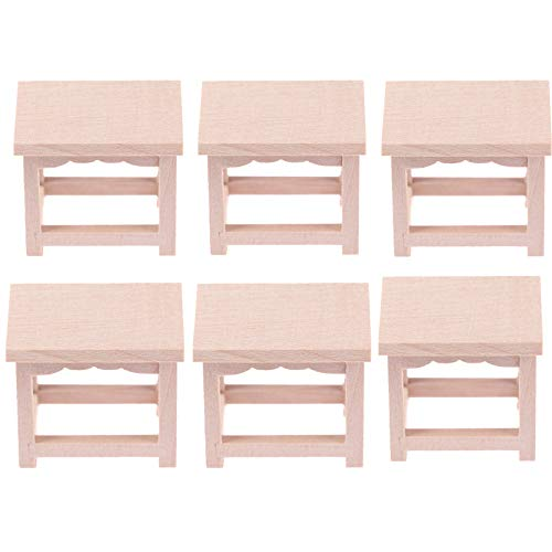 TBoxBo 6Pcs1/12 Dollhouse Miniature Mini Wooden Stool Flower Stand Beer Stand Accessories Miniature Furniture Accessories DIY Ornament Toys Doll House Decoration