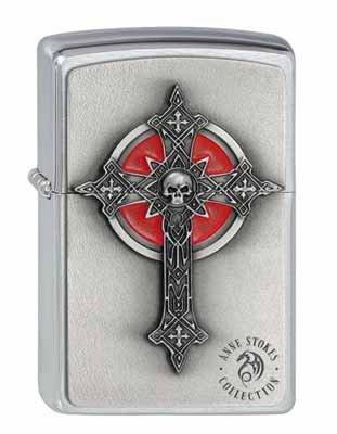 ZIPPO - Accendino originale 'Anne Stokes Gothic Cross'. Colore argento!