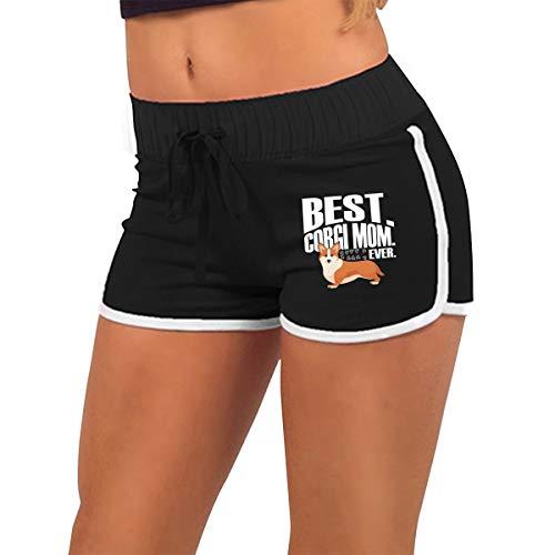 Best Corgi Mom Ever Women's Running Workout Booty Yoga Fitness Sports Club Shorts Hot Pants