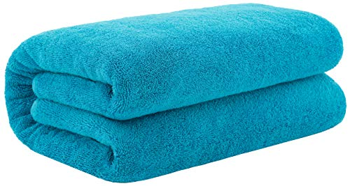 40x80 Inches Jumbo Size, Thick & Large 650 GSM Ringspun Genuine Cotton Bath Sheet, Luxury Hotel & Spa Quality, Absorbent & Soft Decorative Kitchen & Bathroom Turkish Towels, Ocean Aqua