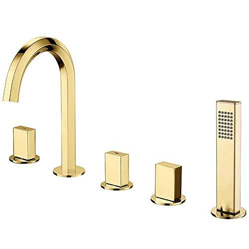 Grifo para bañera con agua fría y caliente Juego de grifos para bañera de latón para montaje en cubierta, 3 manijas, 5 agujeros, multifuncional, grifos mezcladores de ducha con ducha de mano, bronce