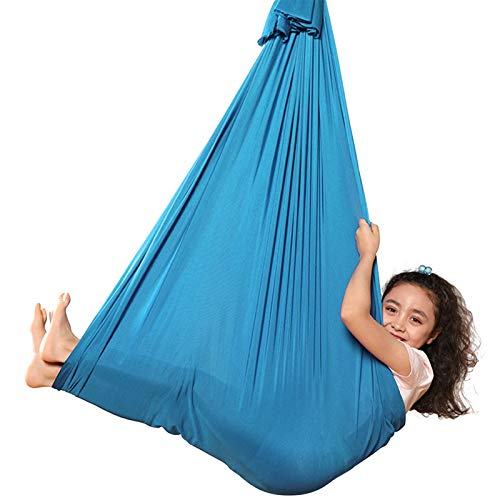Aerial Yoga Swing Kid Sensory Swing Indoor Yoga Hammock Steady Hanging Seat Chair House Cuddle Therapy Swing For Autism Aspergers Yoga Hammock (Color : Lake Blue)
