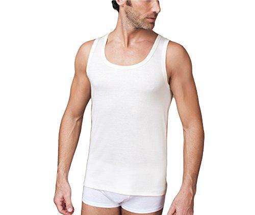 NOTTINGHAM Confezione 2 Pezzi Canottiera Spalla Larga Uomo Lana E Cotone - Colore Bianco -Lana Fuori e Cotone sulla Pelle