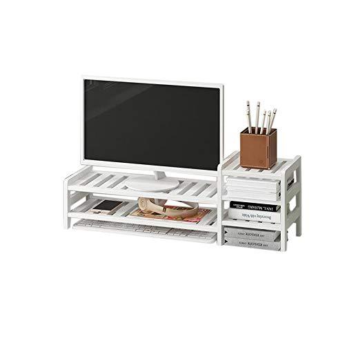 JCNFA Desktop-organizer computerverhoging tentoonstellingsstand van hout beeldscherm riser computer DIY montagebeugel 27.55 * 7.87 * 8.26in wit