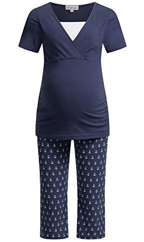 Herzmutter Stillpyjama-Umstandspyjama Kurz – Schlafanzug mit Anker-Herz-Muster - Krankenhaus-Wochenbett Pyjama-Set – Schwangerschaft-Stillzeit-Stillfunktion – 2900 (S, Blau/Anker)