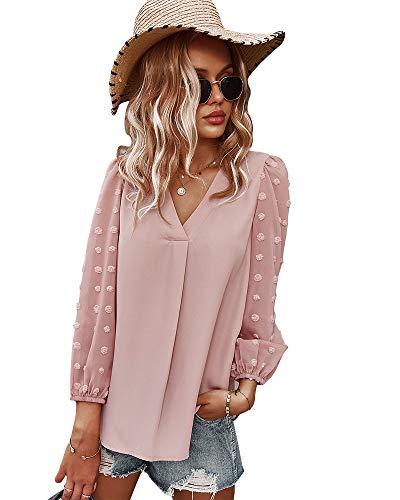 AMZKIKI Women's Long Sleeve Shirts,Lace Sleeves Casual Loose Blouses V Neck T Shirts Chiffon Tops (Pink, Large)