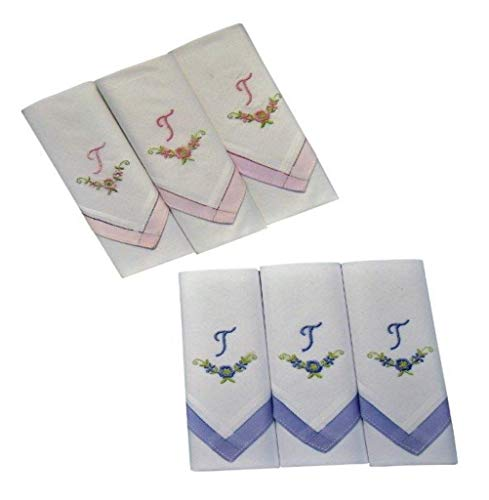 2 x 3 Stück Damen-Monogrammtaschentücher | Baumwolle mit farbiger Satinkante | Im Klarsichtkanton | In rosa und hellblau | Freie Monogrammwahl (T)