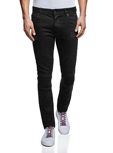 oodji Ultra Herren Jeans Slim Fit im Biker-Stil, Schwarz, 30W / 32L (DE 30 / S)