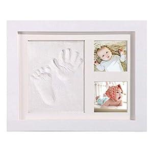 AMAYGA bebé Handprint y Marco de huella Inkpad de fotos Regalos BabyParty seguros y elegantes Elegante blanco de madera sólida,marco huellas bebe,huellas bebe tinta Regalos para Bebé Recién Nacido