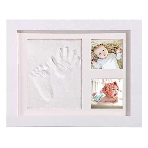 Baby Handabdruck und Fußabdruck,AMAYGA Baby Holz Bilderrahmen mit Gipsabdruck, Hand und Fuß Gipsabdruck Set Abdruckset Fussabdruck-Geschenken für Babys,Neugeborene-Erinnerungen für die Ewigkeit