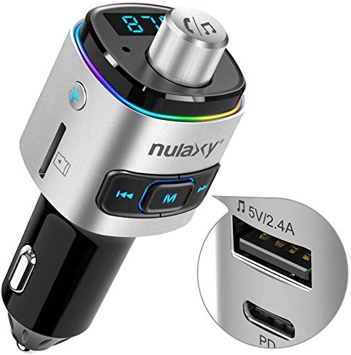 Auto FM Transmitter, NULAXY Bluetooth QC3.0 FM Transmitter Adapter mit 7 Farbe LED Backlit, unterstützt Siri Google Assistent USB Drive TF Karte Handsfrei Sprechen (Silber Typc)