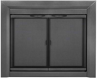 Pleasant Hearth CR-3401 Craton Fireplace Glass Door, Gunmetal, Medium from Pleasant Hearth