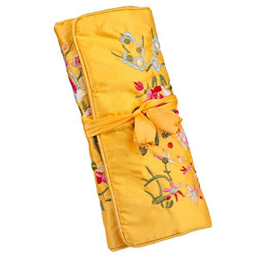 mookaitedcor Garten Design Gestickte Schmuckrolle mit Schöne Blumen, Tasche Organizer für Ohrringe Halsketten Armbänder Uhr,Hellgelb