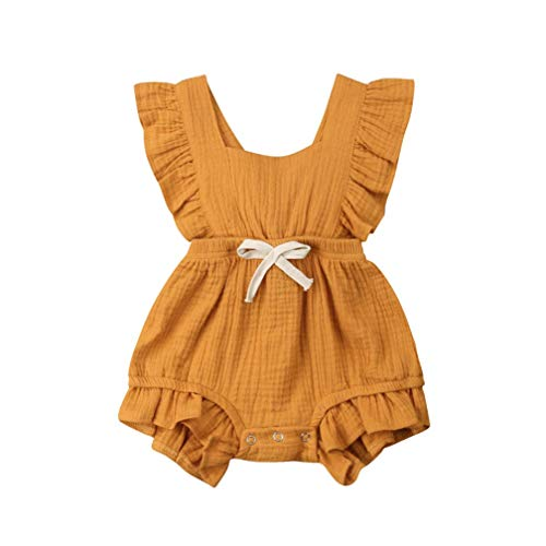 Body Infantil para bebés, bebés recién Nacidos con Volantes Mamelucos sin Mangas Mono Trajes Ropa