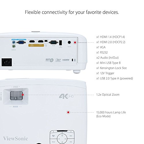 ViewSonicPX727-4K-DLPprojector-portable-2200ANSIlumens-3840x2160-HD4K