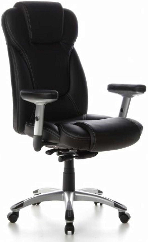 Hjh OFFICE 668700 Bürostuhl Chefsessel EMBASSY 200 Kunstleder schwarz, extrem dicke Polsterung, ideal für das Büro oder Home Office, Drehstuhl, Bürostuhl Sessel,Chefsessel ergonomisch,Chefsessel 120Kg