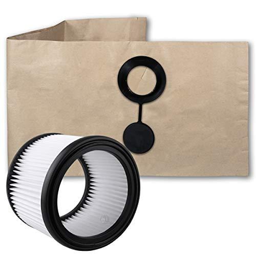5 Hochwertige Staubsaugerbeutel + Filter - Passend für Festool Festo SR 151 E-AS - Bestleistung beim Saugen
