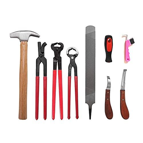 8Pcs Kit di strumenti per rifinitura dello zoccolo del maniscalco per cavalli, set di strumenti per la cura degli zoccoli dei cavalli professionali, manicure e pulizia dei ferri di cavallo portatile