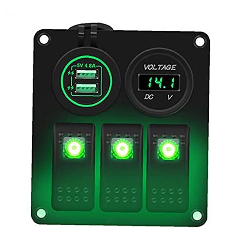 Yililay Enchufe de zócalo del Interruptor basculante Panel de 12V 24V LED 3 Banda Dual USB para Remolque de Coches Marina Yate Vehículos Camión Multi usos Verde