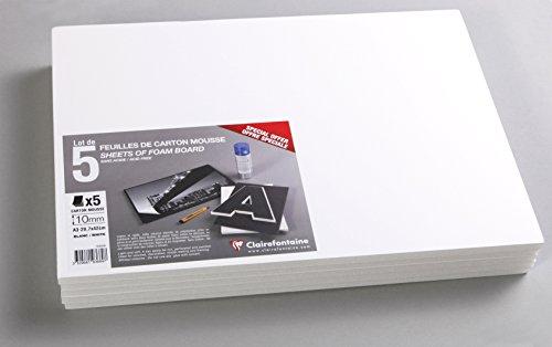 Clairefontaine 193669C Packung (mit 5 Schaumkartons, DIN A3, 29,7 x 42 cm, 10 mm, säurefrei, leicht und fest, geeignet für Dekorationsarbeiten, zur Bilderrahmung, zum Modellieren) 5er Pack weiß