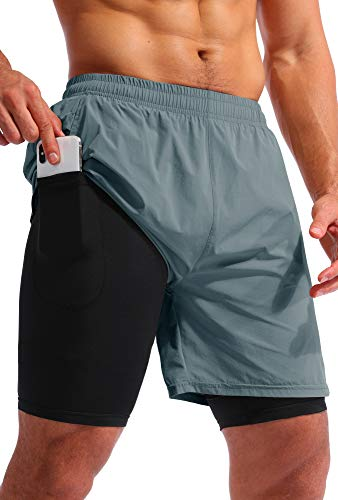 Pudolla Men's 2 in 1 Running Shorts 7' Quick Dry Gym Athletic Workout Shorts for Men with Phone Pockets(Arona Blue Medium)