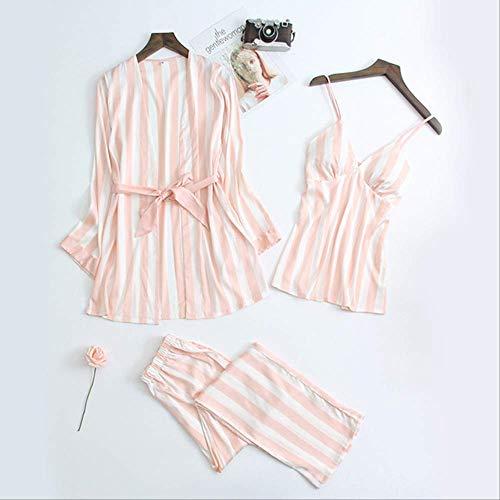 Ropa de Dormir Primavera Pijama de satén a Rayas para Mujer Pijamas para Mujer Ropa de Dormir Conjunto de Tres Piezas Acogedor a Rayas con Cuello en V Pijama Mujer Traje casero XL Rosa