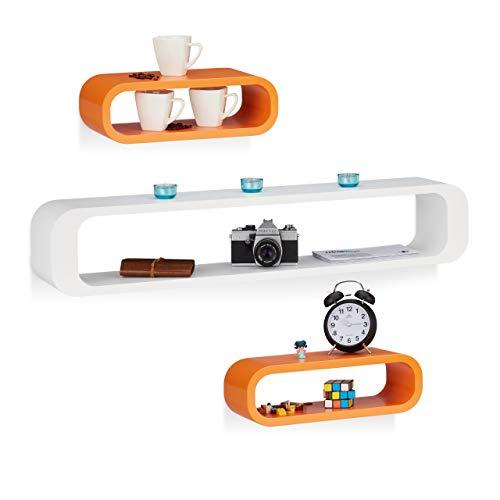 Relaxdays 10021802_750 Set 3 Mensole da Parete Decorative per Soggiorno, Capacità di Carico 10 kg, Bianco-Arancione, legno