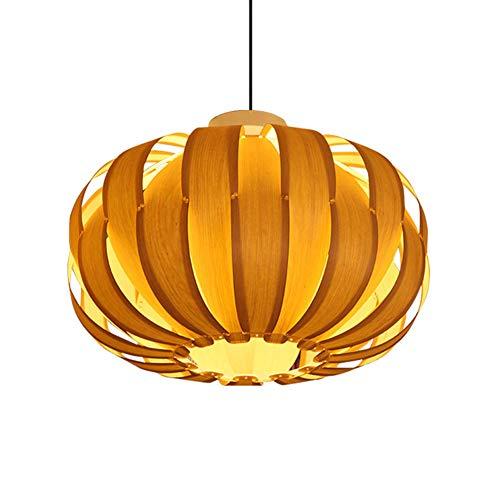 WM Vintage Holz Kronleuchter/handgemachte Kürbis Lampenschirm Furnier / E27 dekorative Esszimmerlampe/verstellbare Kabel 110-240v