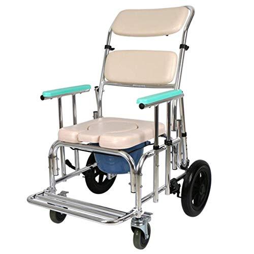 Rollstuhl Duschstuhl mit Rädern Klappbarer Kommodenstuhl Mobiler Kommodenstuhl Krankentransport Rollstuhl für ältere Menschen mit Behinderungen Schwangere Max.100kg