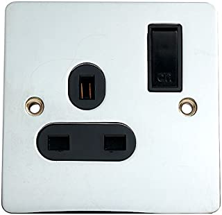 Merriway BH02969 Switched Flat Socket 13 Amp 1-Gang with Black Insert - Chrome Plated