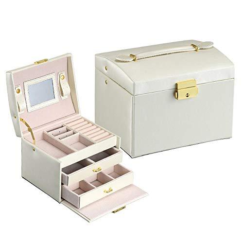 Phy Schmuckkasten mit 3 Ebenen,Schmuckschatulle mit 2 Schubladen, abschließbar, mit Spiegel, herausnehmbare Reise-Box, für Ringe, Armbänder, Ohrringe, Halsketten, als Geschenk White-OneSize