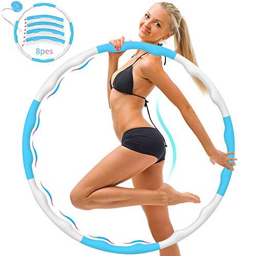DUTISON Hula Hoop Reifen Fitness Erwachsene, Hula Hoop 8 Knoten abnehmbares Design mit Mini maßband,Hula Hoop Reifen ist für Erwachsene Bewegung und Gewichtsverlust geeignet (weiß blau/1 kg)