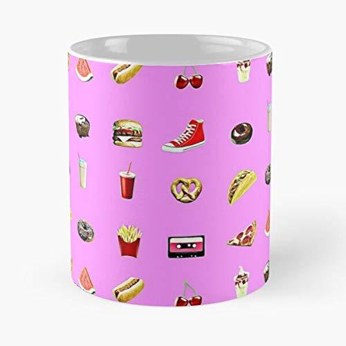 Argentwork Junk Hamburger Food Cream Milk Soda Cake Donuts Ice Shake Fast Taza de café con Leche 11 oz