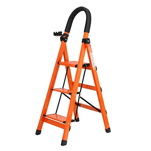LRZLZY Treppe Hocker, Klapprolltreppe Schritt Hocker Innenhaushaltsleiter Aluminium-Legierung (orange) Stabilität und Sicherheit