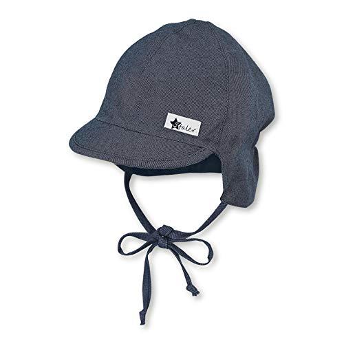 Sterntaler Baby-Jungen Schirmmütze Nackenschutz und Bindebändern Mütze, Blau (Mittelblau 365), (Herstellergröße: 39)
