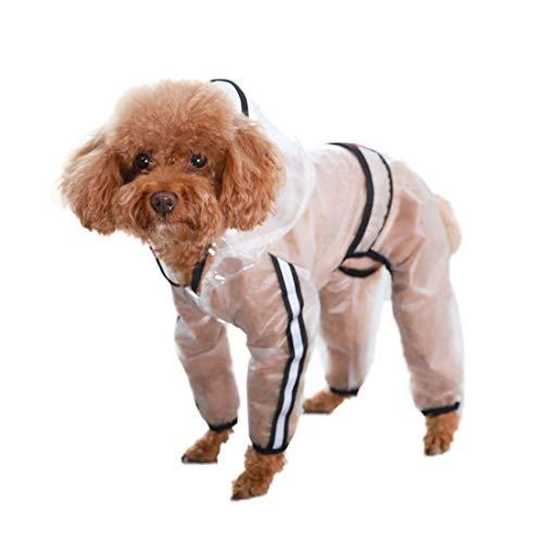 feiling Transparenten Hunderegenmantel für Kleine Mittelgroße und Grosse Hund wasserdichte 4-Beine Regensjacke Haustier Bekleidung Regenmantel (L)