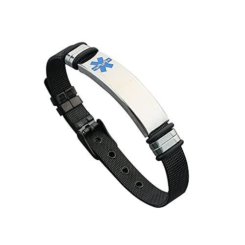 Braccialetto di allerta medica in acciaio inox facile regolabile per coppie uomini e donne braccialetto moda fibbia cintura e Diabete tipo 2, colore: C