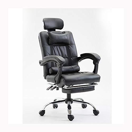 JCXOZ-silla de oficina Ergonómico ordenador Silla de oficina, Silla de la protuberancia del juego respaldo silla principal del cuero silla reclinable giratorio de elevación Presidente-Lightbeige, Colo