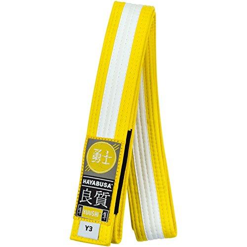 Hayabusa Youth Jiu Jitsu Belt - Yellow/White Stripe, Y2