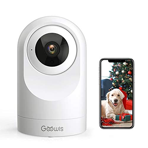 WiFi Camera Indoor, Goowls Home Security Pet Dog PTZ 2.4GHz 1080P Wired IP Camera for Baby/Pet/Nanny Monitor Night Vision Motion Detection Two-Way Audio Works with Alexa