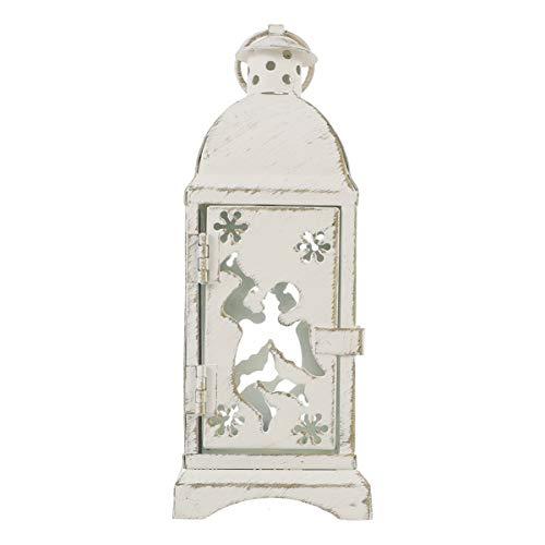 SOLUSTRE Lámpara de viento de cristal resistente al viento de hierro forjado decorativa vintage de metal envejecido portavelas farol decoración navideña para la casa (blanco 2,95 pulgadas)