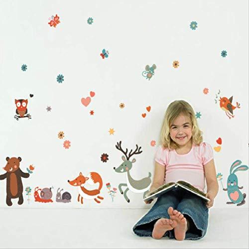 Stickers Muraux Dessin Animé Deer Fox Cubs Escargot Hérisson Autocollants Animaux Home Decor Kids Room Affiche, 160 * 75 Cm