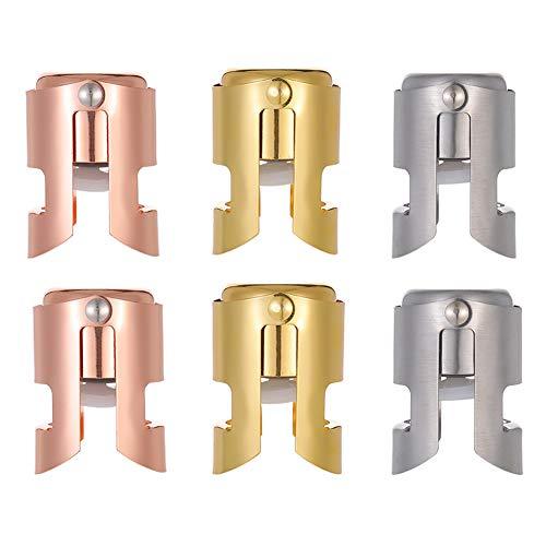 adakel 6 stuks champagne fles stop roestvrij staal fles plug sealer voor wijn, cava, prosecco, mousserende wijn