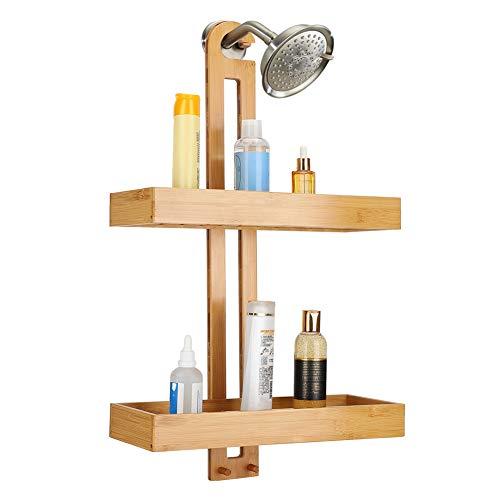 Cikonielf Estantes de pared de bambú con barra de toallero, estantes de almacenamiento colgantes para baño con 2 cestas anchas y asas antideslizantes, 40,5 x 14,5 x 68,5 cm