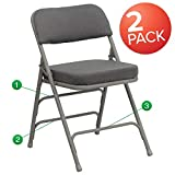 Flash Furniture 2 Pk. HERCULES Series Premium Curved Triple Braced & Double Hinged Gray Fabric Metal Folding Chair