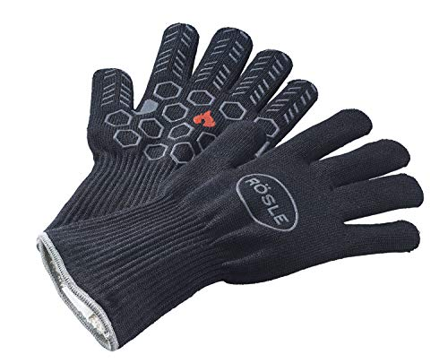 RÖSLE Premium-Grillhandschuhe, Hochwertige Handschuhe zum Schutz vor Verbrennungen, atmungsaktiv und temperaturbeständig bis 350°C, Meta-Aramid, Baumwoll-Innenfutter