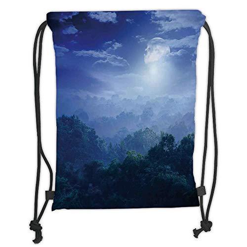 Fevthmii Drawstring Backpacks Bags,Fantasy House Decor,Moonlight Covers Jungles of Sri Lanka Hazy Rainforest Scenery Overhead View,Green Blue Soft Satin,5 Liter Capacity,Adjustable String C